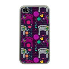 Love Colorful Elephants Background Apple Iphone 4 Case (clear)