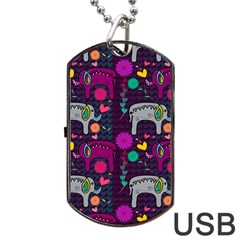 Love Colorful Elephants Background Dog Tag Usb Flash (two Sides)