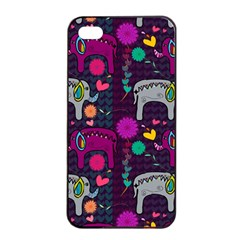 Love Colorful Elephants Background Apple Iphone 4/4s Seamless Case (black)
