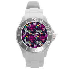 Love Colorful Elephants Background Round Plastic Sport Watch (l)