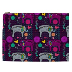 Love Colorful Elephants Background Cosmetic Bag (xxl)