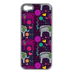 Love Colorful Elephants Background Apple Iphone 5 Case (silver)