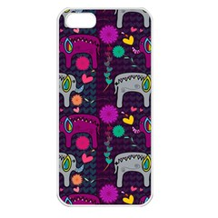 Love Colorful Elephants Background Apple Iphone 5 Seamless Case (white)
