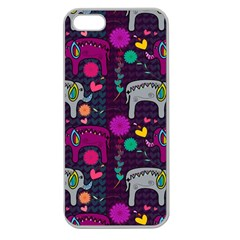 Love Colorful Elephants Background Apple Seamless iPhone 5 Case (Clear)