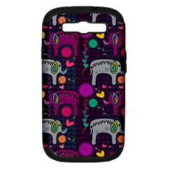 Love Colorful Elephants Background Samsung Galaxy S Iii Hardshell Case (pc+silicone)