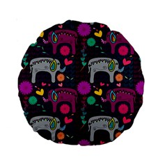 Love Colorful Elephants Background Standard 15  Premium Round Cushions