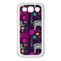 Love Colorful Elephants Background Samsung Galaxy S3 Back Case (White)