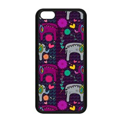 Love Colorful Elephants Background Apple iPhone 5C Seamless Case (Black)
