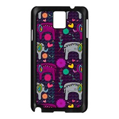 Love Colorful Elephants Background Samsung Galaxy Note 3 N9005 Case (Black)