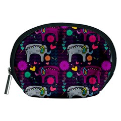 Love Colorful Elephants Background Accessory Pouches (Medium)