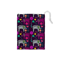 Love Colorful Elephants Background Drawstring Pouches (Small)