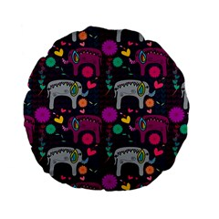 Love Colorful Elephants Background Standard 15  Premium Flano Round Cushions