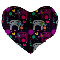 Love Colorful Elephants Background Large 19  Premium Flano Heart Shape Cushions