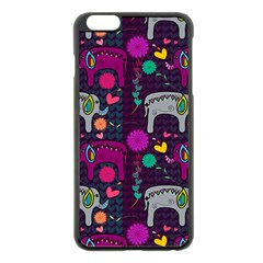 Love Colorful Elephants Background Apple iPhone 6 Plus/6S Plus Black Enamel Case