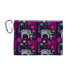 Love Colorful Elephants Background Canvas Cosmetic Bag (M)