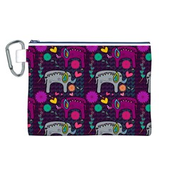 Love Colorful Elephants Background Canvas Cosmetic Bag (L)