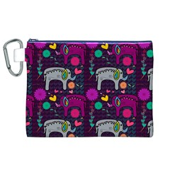 Love Colorful Elephants Background Canvas Cosmetic Bag (xl)