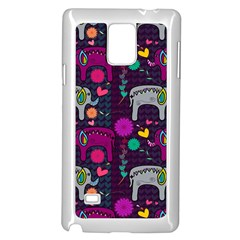 Love Colorful Elephants Background Samsung Galaxy Note 4 Case (White)