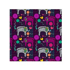 Love Colorful Elephants Background Small Satin Scarf (square)