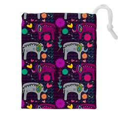 Love Colorful Elephants Background Drawstring Pouches (XXL)