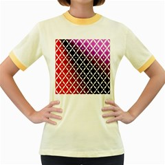 Flowers Digital Pattern Summer Woods Art Shapes Women s Fitted Ringer T-Shirts