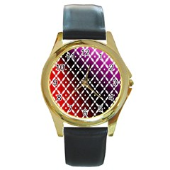 Flowers Digital Pattern Summer Woods Art Shapes Round Gold Metal Watch