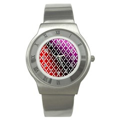 Flowers Digital Pattern Summer Woods Art Shapes Stainless Steel Watch