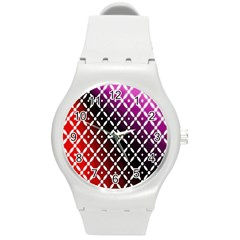 Flowers Digital Pattern Summer Woods Art Shapes Round Plastic Sport Watch (m)