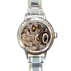 Butterfly Wing Detail Round Italian Charm Watch