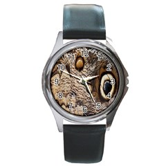 Butterfly Wing Detail Round Metal Watch