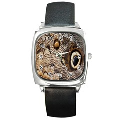Butterfly Wing Detail Square Metal Watch