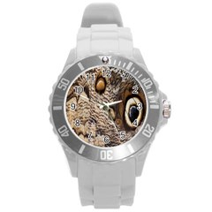 Butterfly Wing Detail Round Plastic Sport Watch (L)