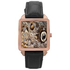 Butterfly Wing Detail Rose Gold Leather Watch