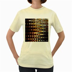 Bright Yellow And Black Abstract Women s Yellow T Shirt