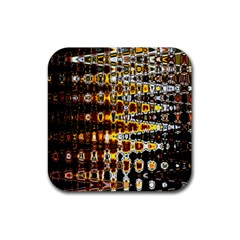 Bright Yellow And Black Abstract Rubber Square Coaster (4 pack)