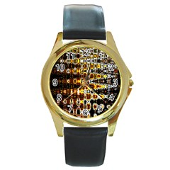 Bright Yellow And Black Abstract Round Gold Metal Watch