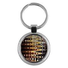 Bright Yellow And Black Abstract Key Chains (Round)