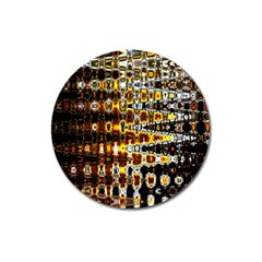 Bright Yellow And Black Abstract Magnet 3  (round)