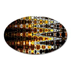 Bright Yellow And Black Abstract Oval Magnet