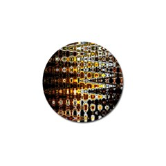 Bright Yellow And Black Abstract Golf Ball Marker
