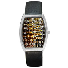 Bright Yellow And Black Abstract Barrel Style Metal Watch