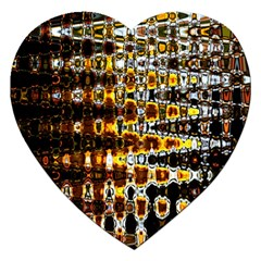 Bright Yellow And Black Abstract Jigsaw Puzzle (Heart)