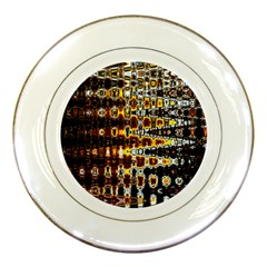 Bright Yellow And Black Abstract Porcelain Plates