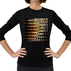 Bright Yellow And Black Abstract Women s Long Sleeve Dark T-Shirts