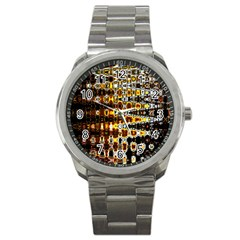 Bright Yellow And Black Abstract Sport Metal Watch