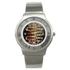 Bright Yellow And Black Abstract Stainless Steel Watch