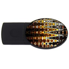 Bright Yellow And Black Abstract USB Flash Drive Oval (4 GB)