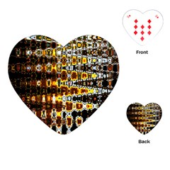 Bright Yellow And Black Abstract Playing Cards (Heart)
