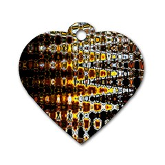 Bright Yellow And Black Abstract Dog Tag Heart (One Side)