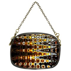 Bright Yellow And Black Abstract Chain Purses (two Sides)